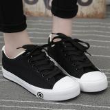 Spesifikasi Sepatu Kanvas Wanita Sol Datar Pergelangan Kaki Rendah Tidak Kedap Versi Korea Hitam Sepatu Wanita Sepatu Sport Sepatu Sneakers Wanita Yg Baik