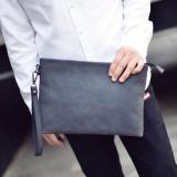 Jual Aiguai Korea Fashion Style Bisnis Clutch Bag Tas Amplop Pria Tas Tangan Hitam Dan Abu Abu Yang Mendalam Matte Kulit Pu Branded Murah
