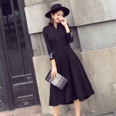 Wanita Versi Korea Dari Bordir Baru Lengan Panjang Gaun Temperamen Hitam Baju Wanita Dress Wanita Gaun Wanita Asli