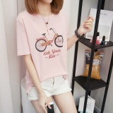 Spesifikasi Xianyuansu Kaos Wanita Lengan Pendek Motif Cetak Kartun Imut 427 Merah Muda Oem Terbaru