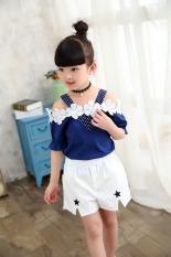 Jual Korea Fashion Style Gadis Musim Panas Baru Anak Pakaian Anak Anak Biru Tua Jas Biru Tua T Shirt Celana Putih Biru Tua Jas Biru Tua T Shirt Celana Putih Baru