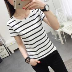 Spek Korea Fashion Style Hitam Dan Putih Perempuan Slim Bottoming Kemeja Kecil T Shirt Putih Putih Oem