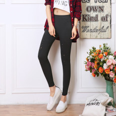 Wuzhaizhai Celana Dasar Model Pensil Wanita Berlubang Ditambah Beludru Versi Korea (Lubang