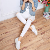 Diskon Versi Korea Dari Hitam Kaki Sembilan Poin Celana Celana Bottoming Celana Putih Lutut Lubang Oem
