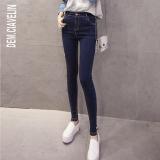 Beli Celana Panjang Wanita Warna Hitam Biru Kain Denim Pinggang Tinggi Santai Versi Korea Biru Cicilan