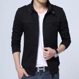 Harga Versi Korea Dari Kain Katun Bagian Tipis Slim Mantel Jaket Pria Hitam Terbaik