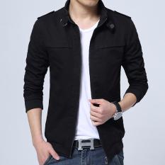 Harga Versi Korea Dari Kain Katun Bagian Tipis Slim Mantel Jaket Pria Hitam Baru Murah