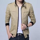 Beli Korea Fashion Style Kain Katun Bagian Tipis Slim Mantel Jaket Pria Khaki Cicil