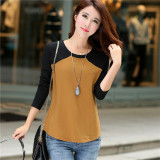 Beli Korea Fashion Style Katun Wanita Leher Bulat Baju Dalaman Kaos Coklat Hitam Tiongkok