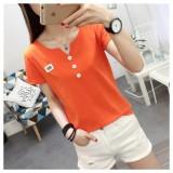 Jual T Shirt Katun Atasan Korea Fashion Style Wanita Kulit Putih Lengan Pendek 2454 Jeruk Import