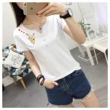 Kualitas T Shirt Katun Atasan Korea Fashion Style Wanita Kulit Putih Lengan Pendek 2464 Putih Oem