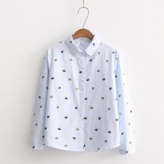 Beli Longgar Korea Fashion Style Musim Semi Baru Dicetak Lengan Panjang Kemeja Kerah Persegi Biru Yang Bagus
