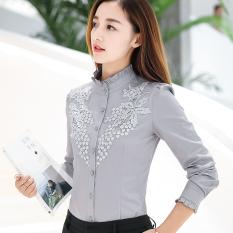 Harga Kemeja Putih Lengan Panjang Kemeja Korea Fashion Style Katun Hgh6032 Abu Abu Origin