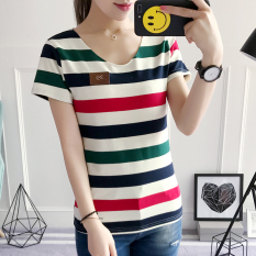 Toko Korea Fashion Style Katun Perempuan V Neck Baju Dalaman Bergaris Lengan Pendek T Shirt Garis Garis Merah Dan Hijau Baju Wanita Baju Atasan Kemeja Wanita Murah Tiongkok
