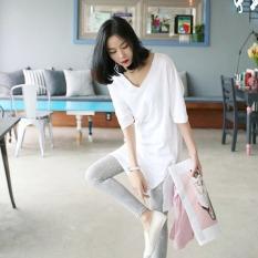 Jual Longgar Korea Fashion Style Katun Slub Blus Putih Kaos Putih Satu Set
