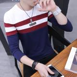 Diskon Korea Fashion Style Katun Lengan Panjang Leher Bulat T Shirt Bottoming Kemeja Biru Tua