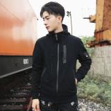 Tips Beli Kaos Sweater Katun Pria Kardigan Korea Fashion Style Musim Gugur Hitam Baju Atasan Sweter Pria