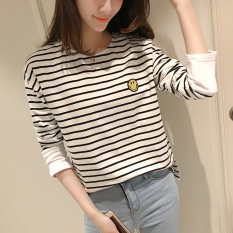 Harga Versi Korea Dari Katun Musim Gugur Wajah Tersenyum T Shirt Longgar Lengan Panjang T Shirt Putih Baru