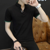 Ongkos Kirim Kaos Oblong Pria Katun Murni Lengan Setengah Kerah Berdiri Membentuk Tubuh Santai Hitam Baju Atasan Kaos Pria Kemeja Pria Di Tiongkok