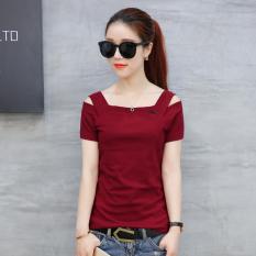 Yannu Kaos Wanita Lengan Pendek Bahan Katun Murni Model Sabrina Longgar Anggur Merah Baju Wanita Baju Atasan Kemeja Wanita Tiongkok Diskon 50