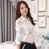 Spesifikasi Korea Fashion Style Slim Kerah Turndown Profesi Atasan Lengan Panjang Kemeja Sifon Gambar Warna Bagus
