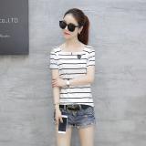Perbandingan Harga Versi Korea Dari Kerah Strapless Bergaris T Shirt Putih Bergaris Baju Wanita Baju Atasan Kemeja Wanita Oem Di Tiongkok