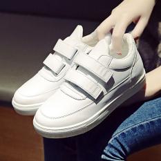 Spesifikasi Sepatu Lapisan Tunggal Wanita Sol Tebal Tempelan Sulap Olahraga Versi Korea Putih
