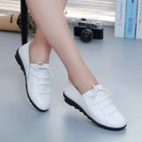 Toko Musim Gugur Dan Musim Dingin Korea Fashion Style Tambah Beludru Datar Dengan Sepatu Kulit Kacang Datar Sepatu Wanita Putih Termurah Tiongkok