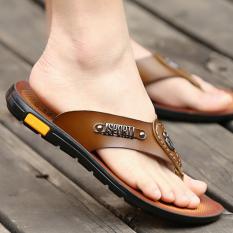Beli Sandal Jepit Pria Kulit Sandal Korea Fashion Style Laki Laki Khaki Sepatu Pria Sepatu Sendal Seken