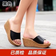 Sandal Selop Wanita Sol Tebal Kulit Asli Versi Korea (Hitam) (Hitam)