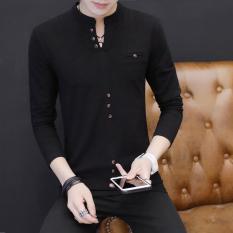 Korea Modis Gaya Pria Baru Remaja Baju Musim Gugur Baju Dalaman (T55 Hitam)