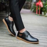 Toko Sepatu Kulit Pria Rendah Tendon Bertali Ujung Bulat San Versi Korea Hitam Online Di Tiongkok