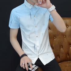 Korea Fashion Style Slim Bagian Tipis Remaja Tampan Kemeja Lengan Pendek Kemeja (833 biru) baju atasan kaos pria kemeja pria