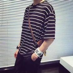 Spesifikasi Versi Korea Dari Leher Bulat Bergaris Longgar Lengan Pendek Kemeja T Shirt Kelima Bergaris Baju Atasan Kaos Pria Kemeja Pria Lengkap Dengan Harga