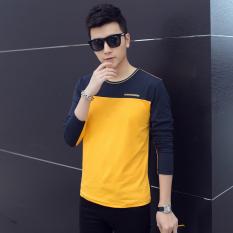 Kaos Pria Lengan Panjang Kerah Bulat Membentuk Tubuh Ukuran Besar Versi Korea (Kuning)