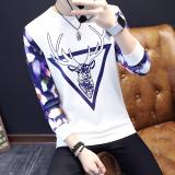 Jual Versi Korea Dari Leher Bulat Slim Sweater Musim Gugur Pria T Shirt Segitiga Rusa Putih Baru