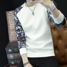 Ulasan Kaos Oblong Pria Lengan Panjang Leher O Ditambah Beludru Membentuk Tubuh W36 Putih