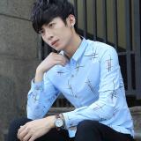 Jual Kemeja Korea Fashion Style Musim Gugur Atasan Modis Lengan Panjang Cahaya Biru Di Bawah Harga