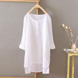 Harga Hemat Kemeja Korea Fashion Style Sepatu Linen Atasan Kain Linen Setengah Panjang Model Putih Leher Bulat Model