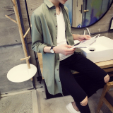 Beli Korean Style Linen Men Slim Fit Shirt Long Sleeved Shirt Hijau Pake Kartu Kredit