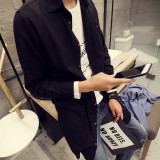 Jual Korean Style Linen Men Slim Fit Shirt Long Sleeved Shirt Hitam Murah Di Tiongkok