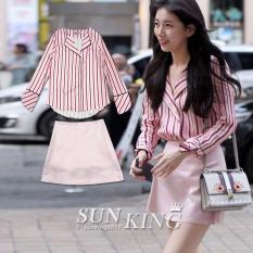 SHININGSTAR Korean-style pink New style celebrity inspired striped shirt (Dua potong)