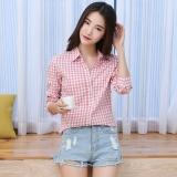 Jual Korea Fashion Style Merah Perempuan Lengan Panjang Kotak Kotak Kecil Kemeja B142110029 B142110029 Satu Set
