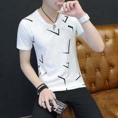 Harga Versi Korea Dari Mercerized Kapas Pria Lengan Pendek T Shirt Sutra Xyt261 Putih Terbaru