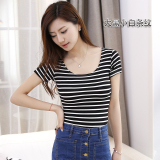 Spek Hitam T Shirt Atasan Korea Fashion Style Modal Slim Besar Hitam Dan Putih Bergaris Tipis Ketat Baju Wanita Baju Atasan Kemeja Wanita Tiongkok