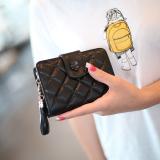 Beli Dompet Wanita Model Pendek Rumbai Ritsleting Versi Korea Hitam Hitam Pake Kartu Kredit