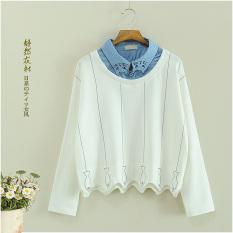 Beli Kaos Sweater Korea Fashion Style Musim Gugur Atasan Perempuan Lengan Panjang Putih Baju Wanita Baju Atasan Kemeja Wanita Kredit