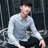 Beli Versi Korea Dari Musim Gugur Baru Pria Lengan Panjang Kemeja Abu Abu Nyicil