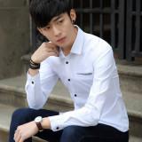 Ongkos Kirim Korea Fashion Style Musim Semi Baru Pria Lengan Panjang Kemeja Putih Putih Di Tiongkok