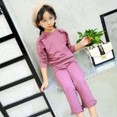 Ongkos Kirim Korea Fashion Style Model Musim Gugur Baru Anak Anak Busana Anak Anak Set Ungu Di Tiongkok